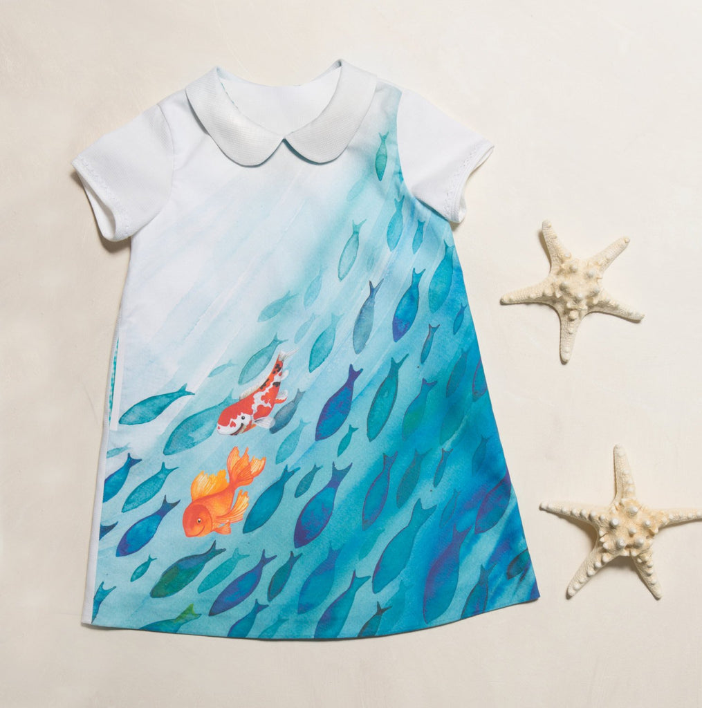 "A-form dress : ""School of Fish"""