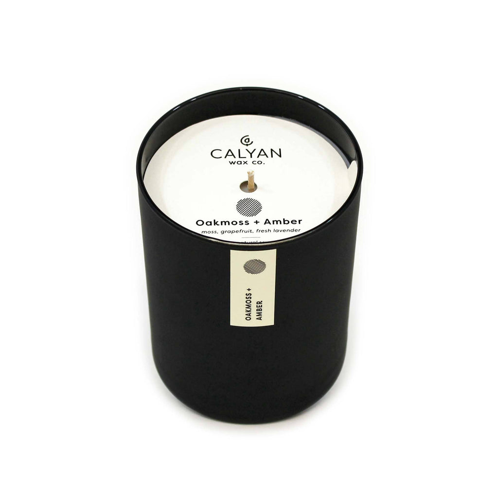 Calyan Wax Co. - Oakmoss + Amber Matte Black Glass Tumbler Soy Candle