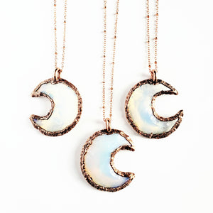 Knapped Opalite Crystal Crescent Moon Necklace