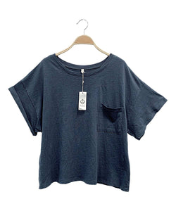 Oversized Pocket T- Navy