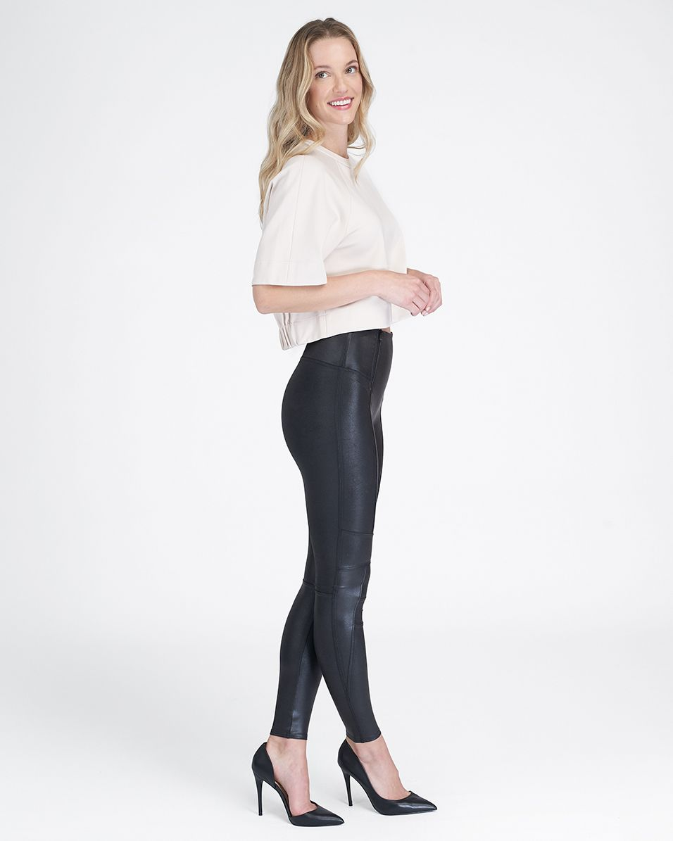 Faux Leather Hip Zip Leggings