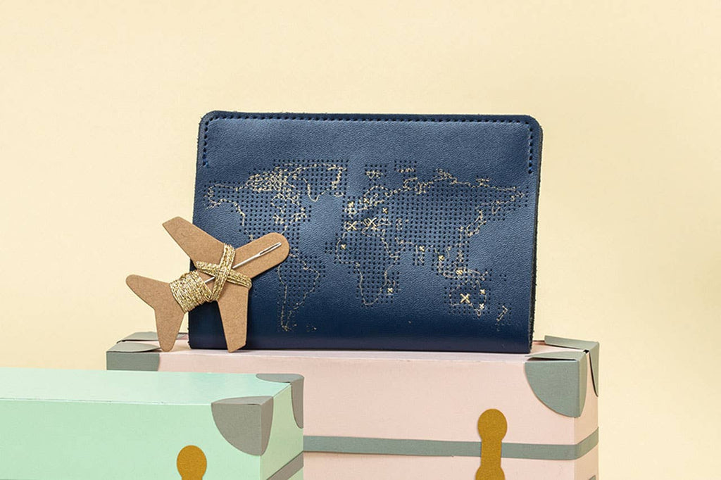 Chasing Threads - Stitch Passport Cover - Navy