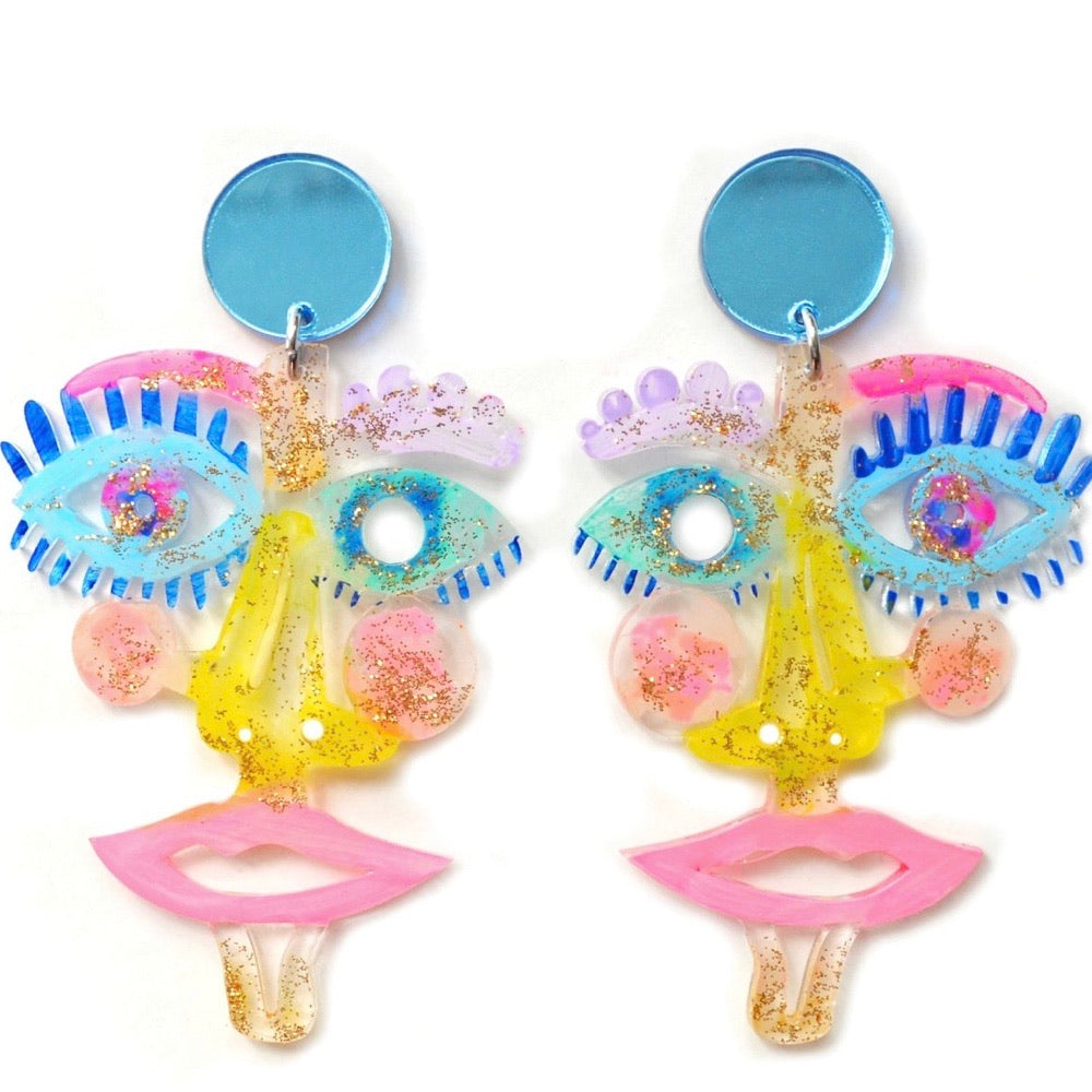 1 2 3 4 5 Pastel Acrylic Laser Cut Face Earrings