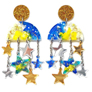 Cloud Moon And Star Dangle Chain Statement Earrings