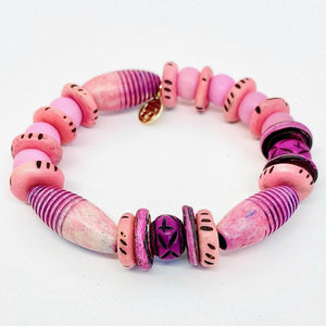 Handcrafted Pink and Purple Bracelet