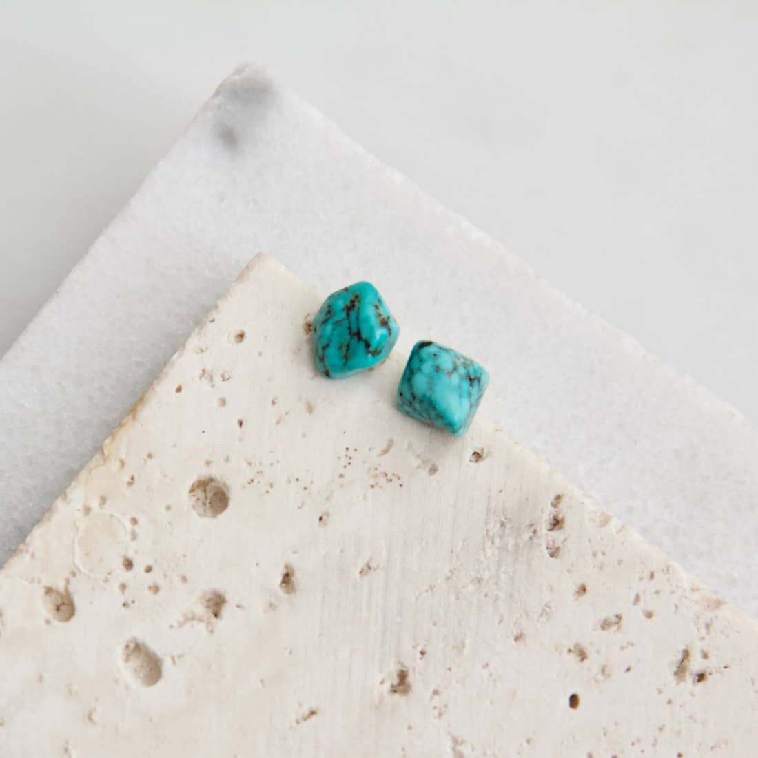 Rough Turquoise Nugget Stud Earrings