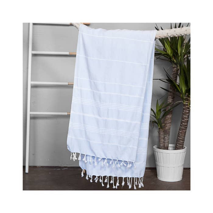 Authentic Baby Blue Light Turkish Towel