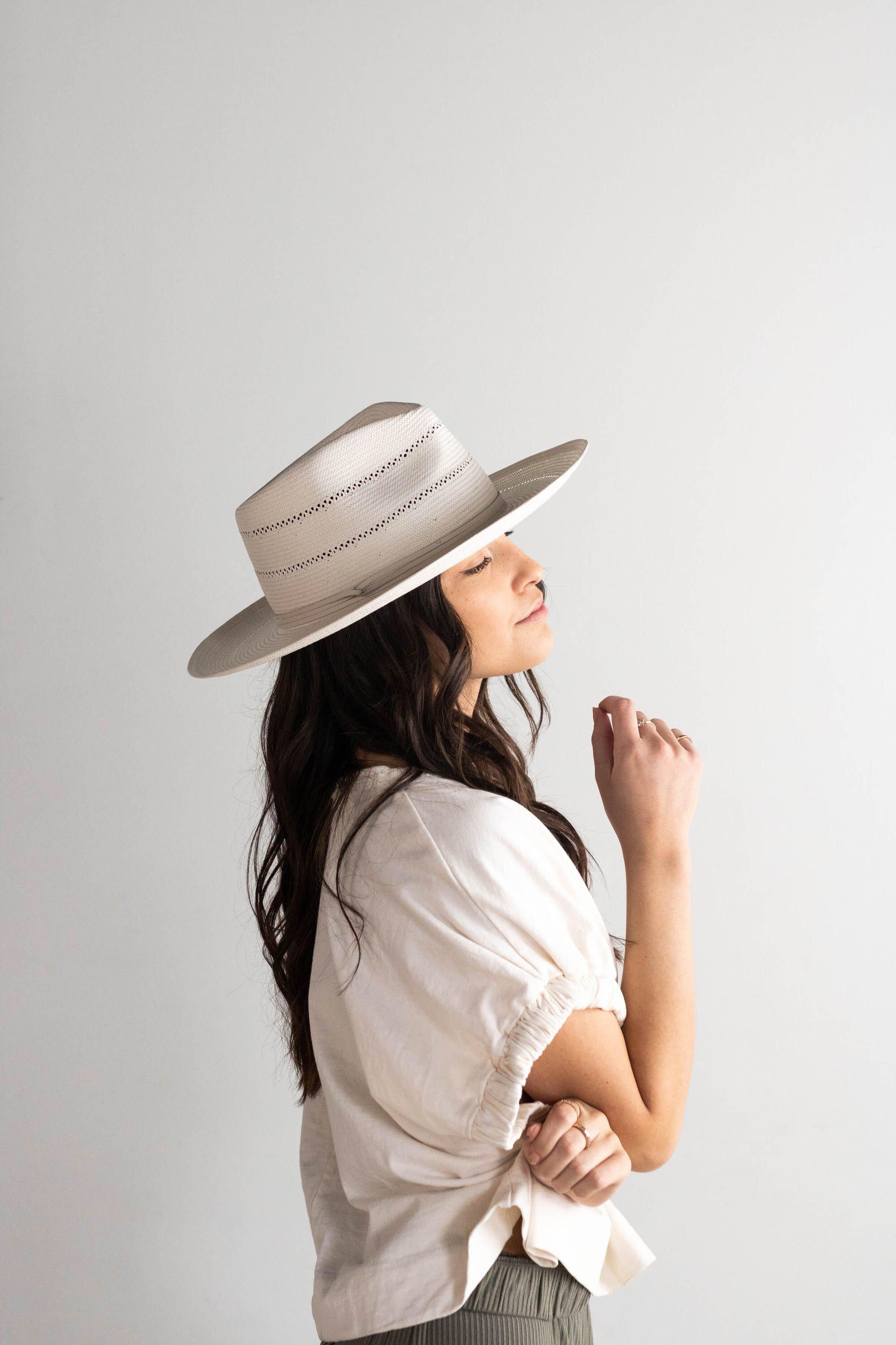 Arlo Cream Band Straw Teardrop Fedora