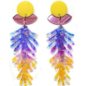 Purple and Yellow Ombre Branch Earrings