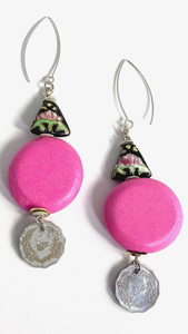 Pink with Silver and Hand Painted Ceramic Bead Earrings