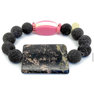 Pink and Black Parisian Marble Bead Bracelet