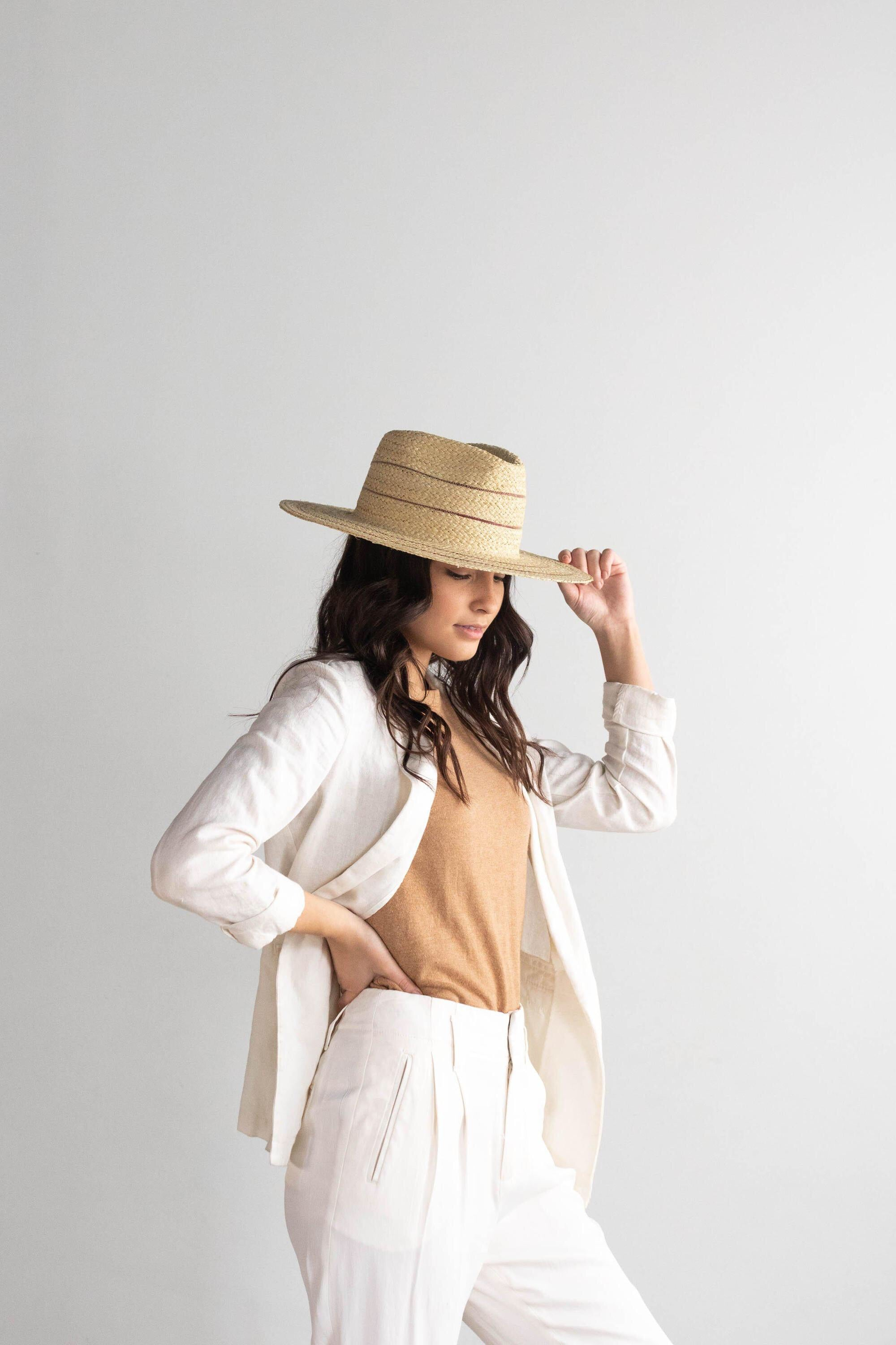 Camila Fedora - Natural with Stripes