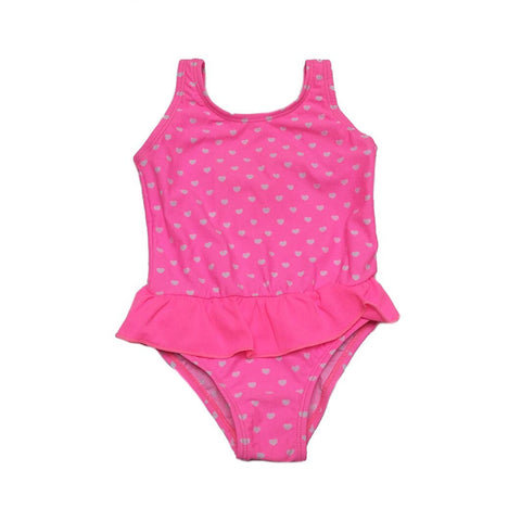 Baby Girl / Toddler One Piece Swimsuit - White Heart Design on a Pink Background