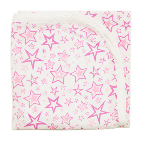 Baby Muslin Swaddle - Pink Stars