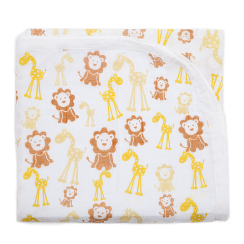 Baby Muslin Swaddle - Lion & Giraffe Design