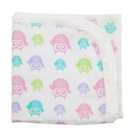 Baby Muslin Swaddle - Owl Design