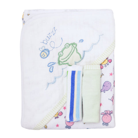 Baby Bath Set - White with Green Frog Design