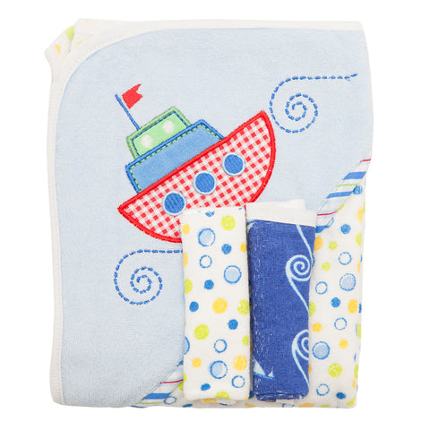 Baby Bath Set - Blue with Boat Design