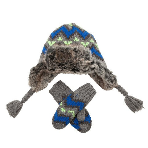 Children's  Hat - Trapper Blue & Grey Wool Trapper Hat & Mitens SALE PRICE reduced from €18 to €12