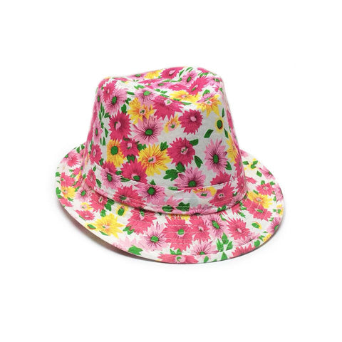 Childrens Fedora Trilby Hat  - Floral Design on a White Colour Background