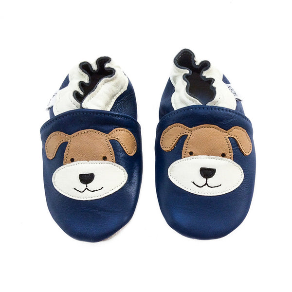 Soft Sole Leather Shoe -  Dog Motif On A Blue Background