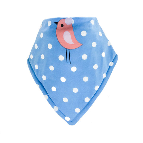 Bandana Bib-Bird Design on Blue Background