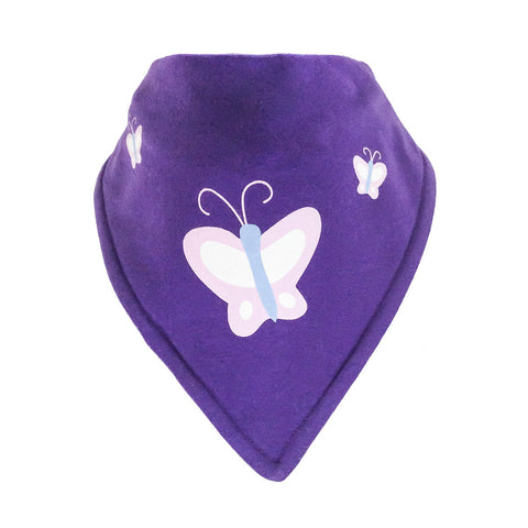 Bandana Bib - Abbey Butterfly Motif On A Purple Background