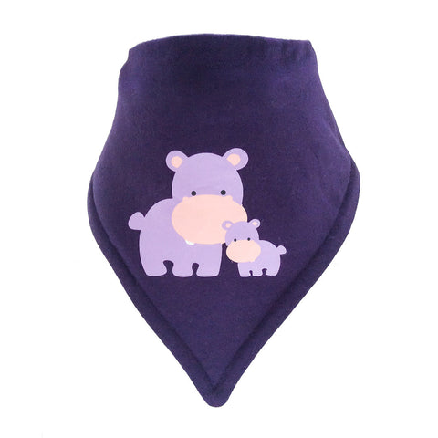 Bandana Bib - Adora Hippo Motif on a Purple Background