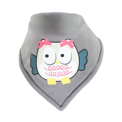 Bandana Bib -Owl Motif on Grey Background