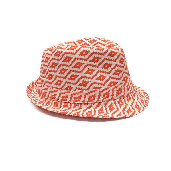 Childrens Fedora Trilby Hat  - Red Diamond Design on a Cream Colour Background