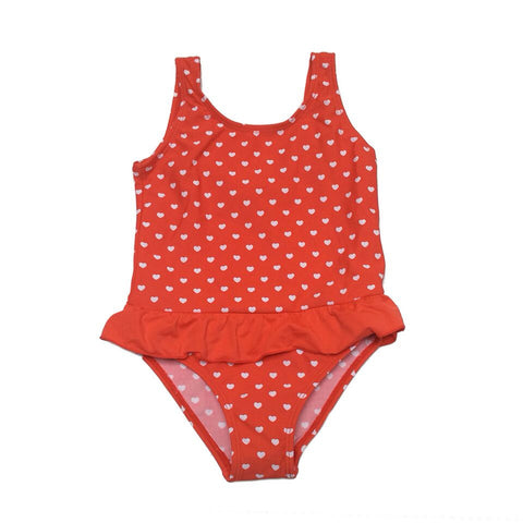Baby Girl / Toddler  One Piece Swimsuit -White Heart Design on a Red Background