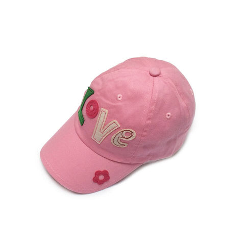 Baby Toddler Sun Hat  - Love Embroidered Pink Baseball Cap Sun Hat