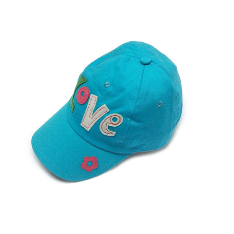 Baby Toddler Sun Hat  - Love Embroidered Blue Baseball Cap Sun Hat