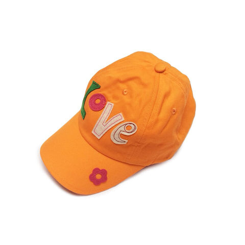 Baby Toddler Sun Hat  - Love Embroidered Orange Baseball Cap Sun Hat