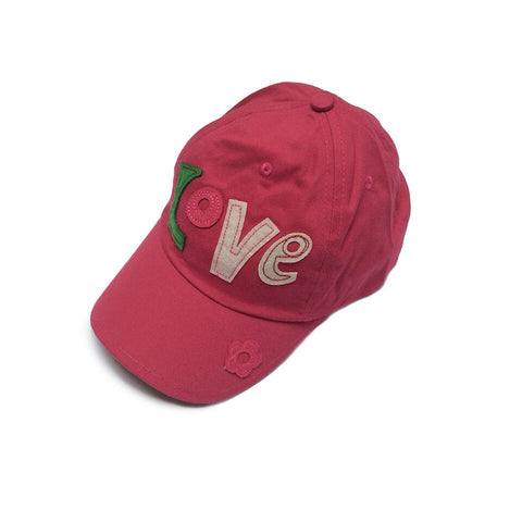 Baby Toddler Sun Hat  - Love Embroidered Fuschia Baseball Cap Sun Hat