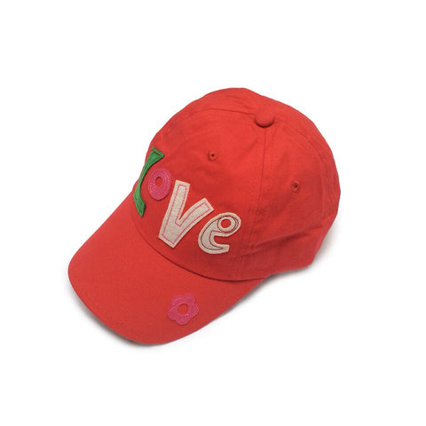 Baby Toddler Sun Hat  - Love Embroidered Red Baseball Cap Sun Hat