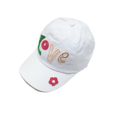 Baby Toddler Sun Hat  - Love Embroidered White Baseball Cap Sun Hat