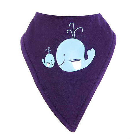 Bandana Bib - Whale Motif On A Navy Background