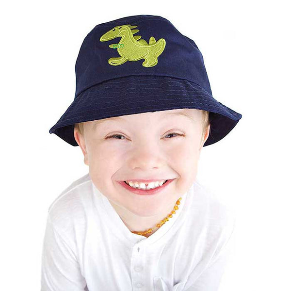 Baby / Toddler Sun Bucket Hat - Dinosaur Motif On a Navy Background