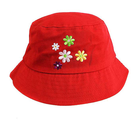 Baby / Toddler Sun Bucket Hat - Mix OF Flowers On A Red Background