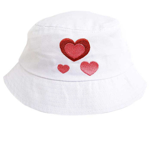Baby / Toddler Sun Bucket Hat - Heart Motif On A White Background