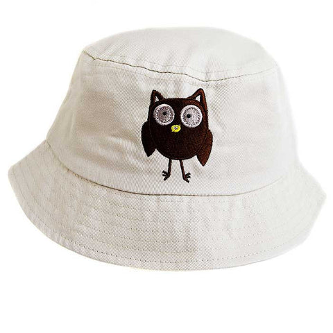 Baby / Toddler Sun Bucket Hat -  Owl Motif On A Cream Background