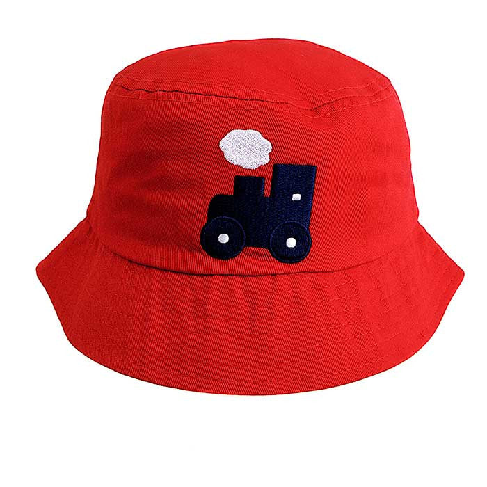 Baby / Toddler Sun Bucket Hat - Train Motif On A Red Background