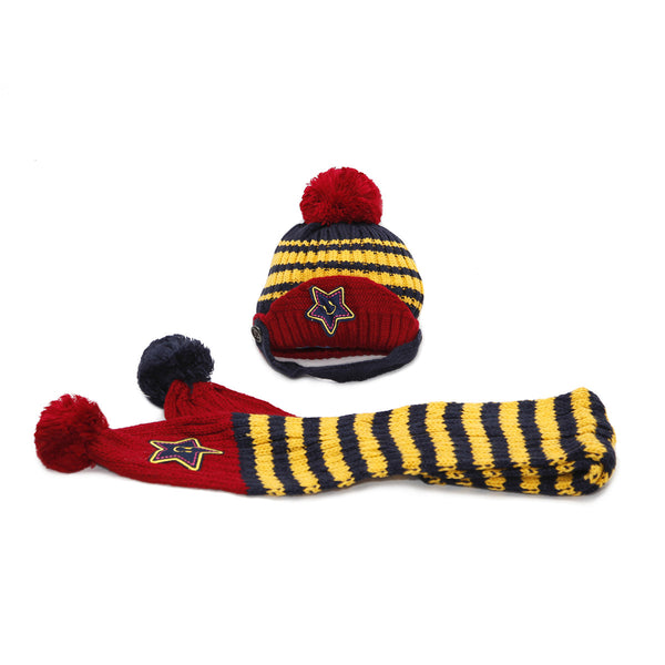 Children's Knitted Hat & Scarf Set with Star Motif - Wine