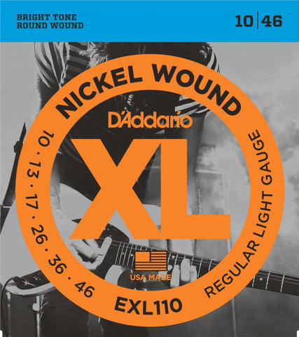 EXL110 D'Addario Nickel Wound, Regular Light Electric Guitar Strings (10-46)