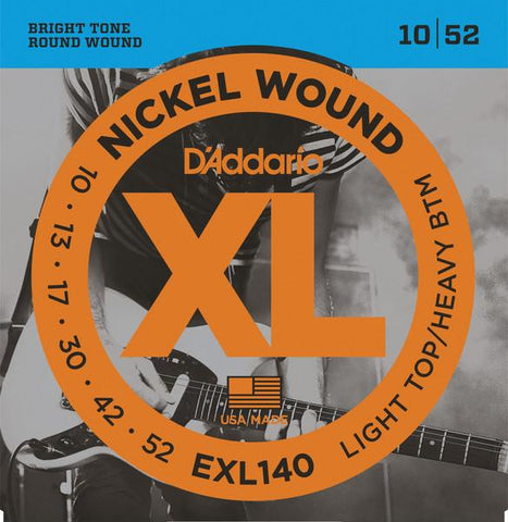 D'Addario Nickel Wound, Light Top/Heavy Bottom Electric Guitar Strings (10-52)