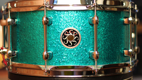 Sakae Snare Drum Maple Righty Halo - (Turquoise Champagne)