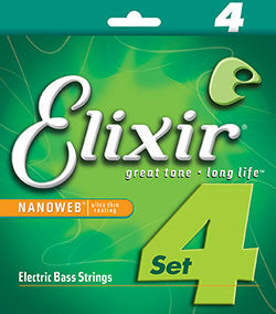 Elixir® Strings Electric bass nickel plated steel with NANOWEB® coating - Super Light (.040 - .095)