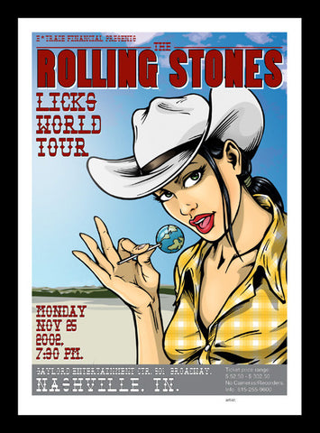 "The Rolling Stones - Licks World Tour, Nashville, Tennessee 2002 Gig poster (26"" x 18"")"