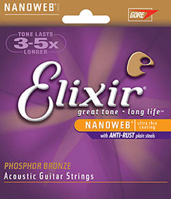 Elixir® Strings Acoustic Phosphor Bronze with NANOWEB® Coating - Light .012 - .053